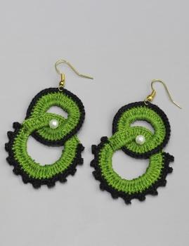 Brincos Lichia - Verde e preto